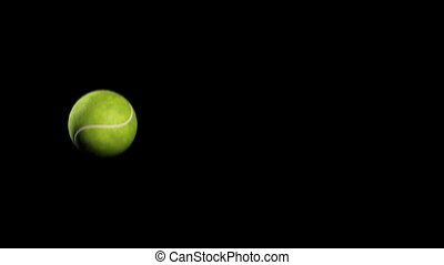 Tennis Ball On Black Background Tennis Ball Move On Black Background