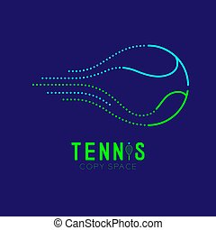 Tennis ball logo icon outline stroke set dash line design illustration isolated on dark blue background with Tennis text and copy space, vector eps 10
