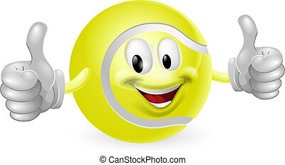 Tennis Ball Mascot - Illustration of a cute happy tennis...