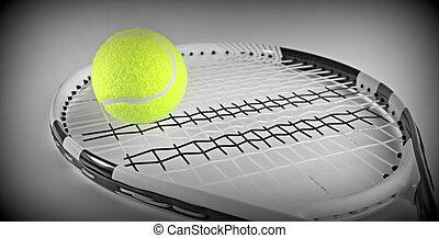 Tennis ball on a racket