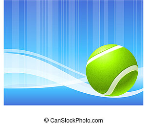 Tennis Ball on Abstract Blue Background