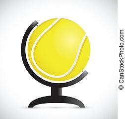 tennis ball on an rotation atlas. illustration
