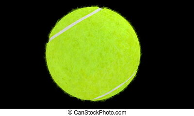 Tennis ball on black background. - Tennis ball move on black...