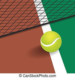 Tennis Ball on court corner line
