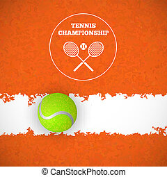 Tennis ball on court. Vector - Tennis ball on orange court....