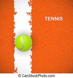 Tennis ball on court. Vector