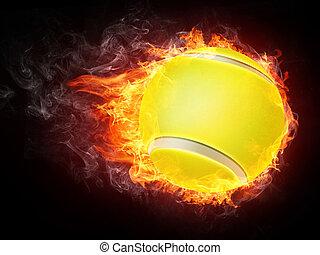 Tennis Ball on Fire. 2D Graphics. Computer Design.