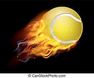Tennis Ball on Fire - A flaming tennis ball on fire flying...
