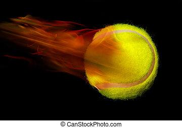 Tennis ball on fire - Yellow tennis ball on fire.