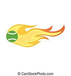 tennis ball on fire vector icon