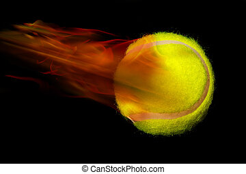 Tennis ball on fire - Yellow tennis ball on fire.