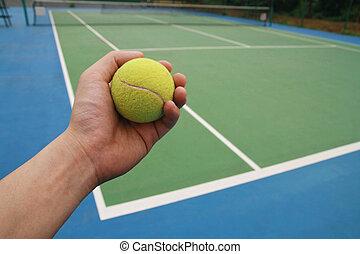 tennis ball on player hand