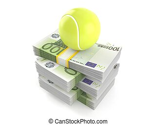 Tennis ball on stack of money