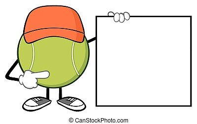 Tennis Ball Pointing To A Blank - Tennis Ball Faceless...