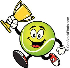 Tennis Ball running with a Trophy