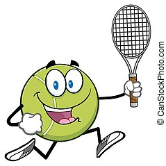 Tennis Ball Running With Racket - Tennis Ball Cartoon...