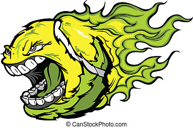 Tennis Ball Screaming Face with Flames Vector Image -...