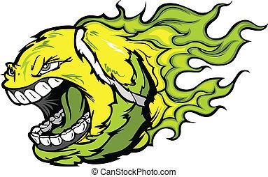 Flaming Screaming Tennis Ball Face Cartoon Vector Illustration