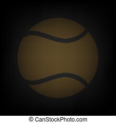 Tennis ball sign. Icon as grid of small orange light bulb in darkness. Illustration.