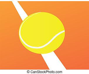 tennis ball standing on orange cour