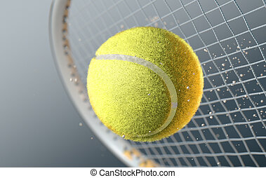 Tennis Ball Striking Racqet In Slow Motion - An extreme...
