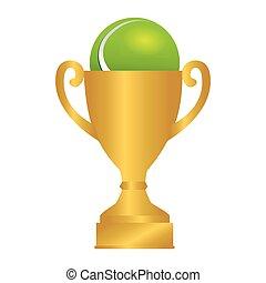 Tennis Ball Trophy Icon Vector