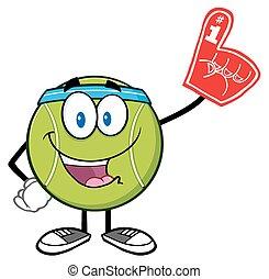 Tennis Ball Wearing A Foam Finger - Happy Tennis Ball...