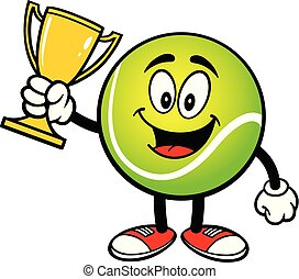 Tennis Ball with a Trophy