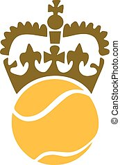 Tennis ball with crown on top