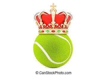 Tennis ball with gold crown, 3D rendering