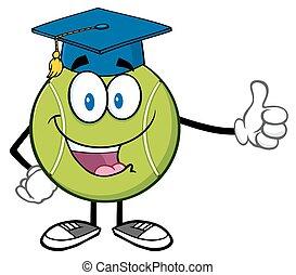 Tennis Ball With Graduate Cap