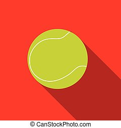 Tennis ball with long shadow on red background