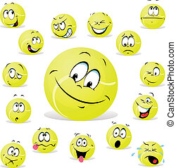 tennis ball with many expression