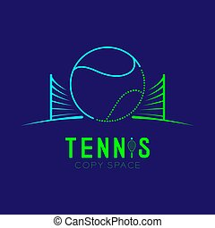 Tennis ball with net logo icon outline stroke set dash line design illustration isolated on dark blue background with Tennis text and copy space, vector eps 10