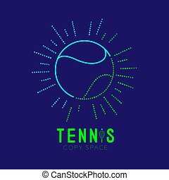 Tennis ball with radius frame logo icon outline stroke set dash line design illustration isolated on dark blue background with Tennis text and copy space, vector eps 10