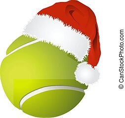 Tennis ball with santa hat