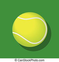 Tennis ball with shadow on white background-Vector Illustration
