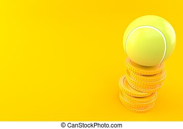 Tennis ball with stack of coins