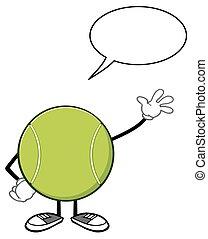 Tennis Ball With With Speech Bubble - Tennis Ball Faceless...