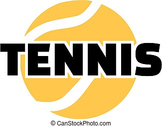 Tennis ball with word