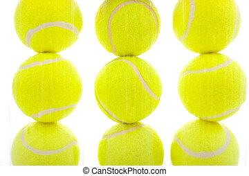 tennis ballen, op wit