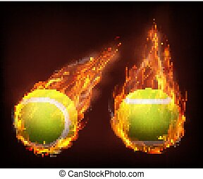 Tennis balls flying in flames realistic vector