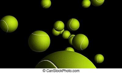 Tennis Balls Flying Through Space