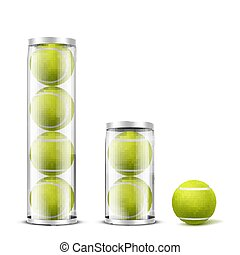 Tennis balls in plastic cans realistic vector