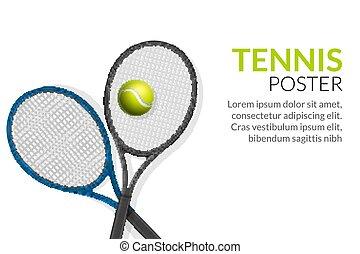 Tennis banner background. Tennis ball racket poster sport flyer design, tournament