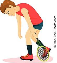 tennis, battu, homme