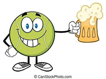 tennis, birra, palla, sorridente, presa a terra