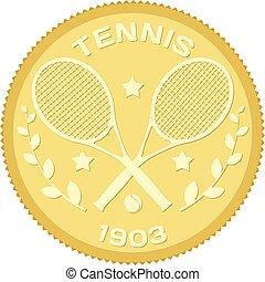 tennis., bola, colorido, ouro, imagem, raquetes, vetorial, ilustração, medalhão, estoque