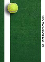 tennis bold, på, gårdsplads, græs, spill, boldspil, baggrund, sport, by, konstruktion