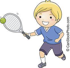 Tennis Boy - Illustration of a Little Boy Hitting a Tennis...